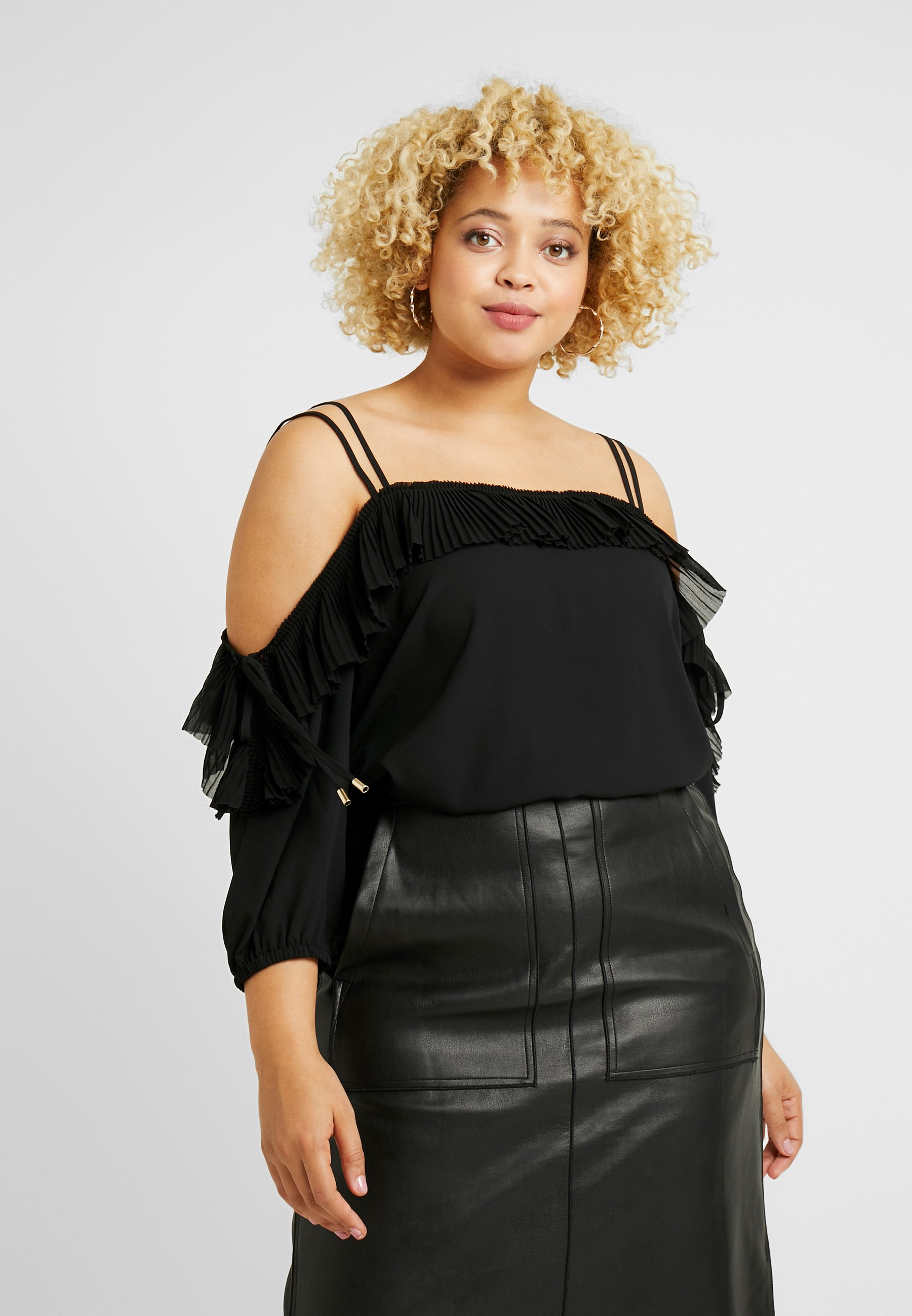 City Chic EXCLUSIVE PLEATED FRILL - Bluser - black