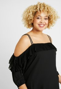 City Chic - EXCLUSIVE PLEATED FRILL - Blůza - black - 3