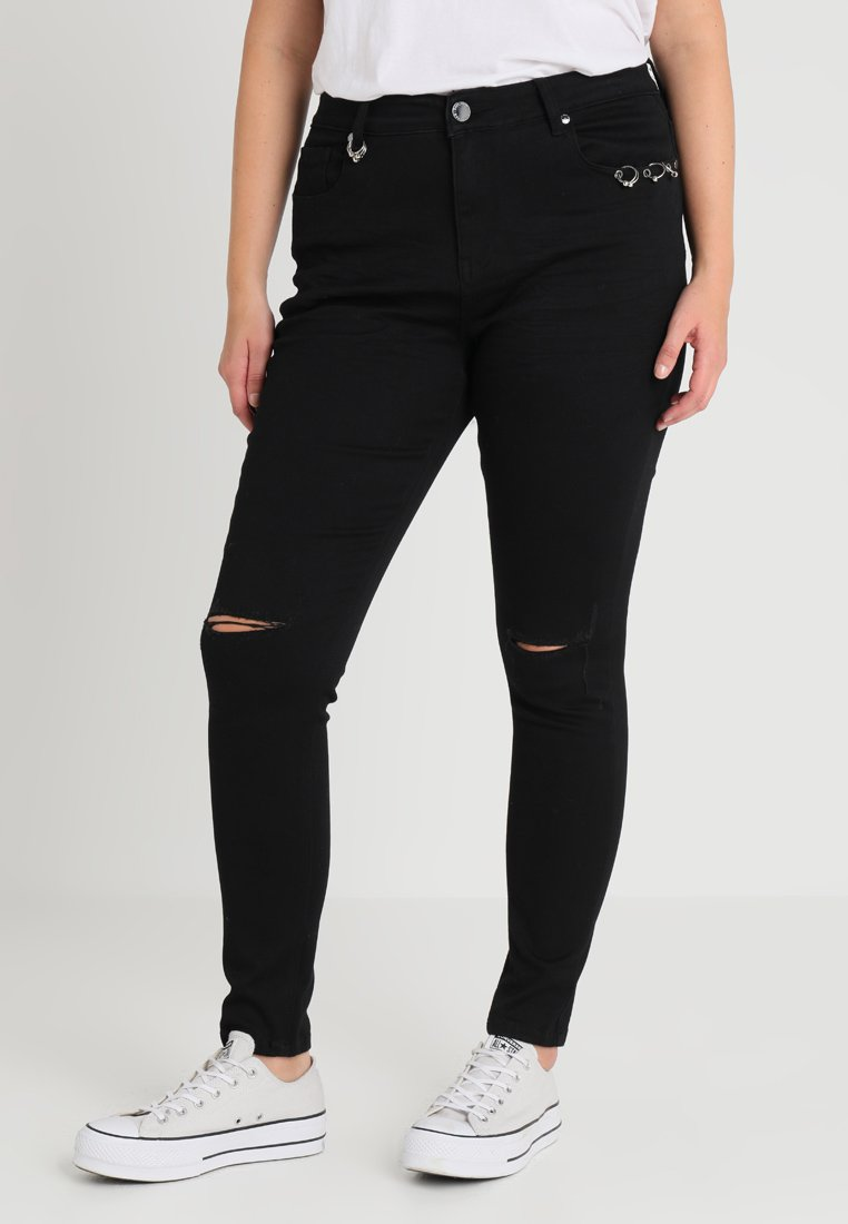 City Chic - JEAN HARLEY RIVETTED - Jeans Skinny Fit - black