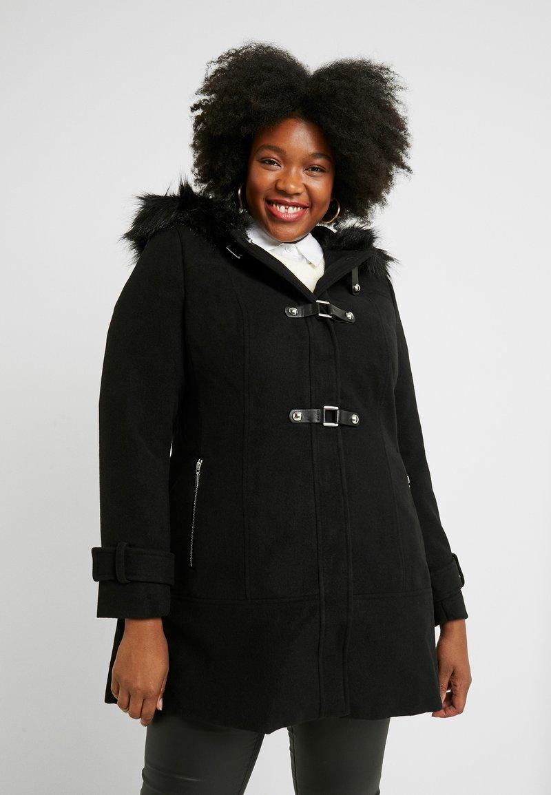 City Chic - EXCLUSIVE TAB DETAIL COAT WONDERWALL - Manteau court - black