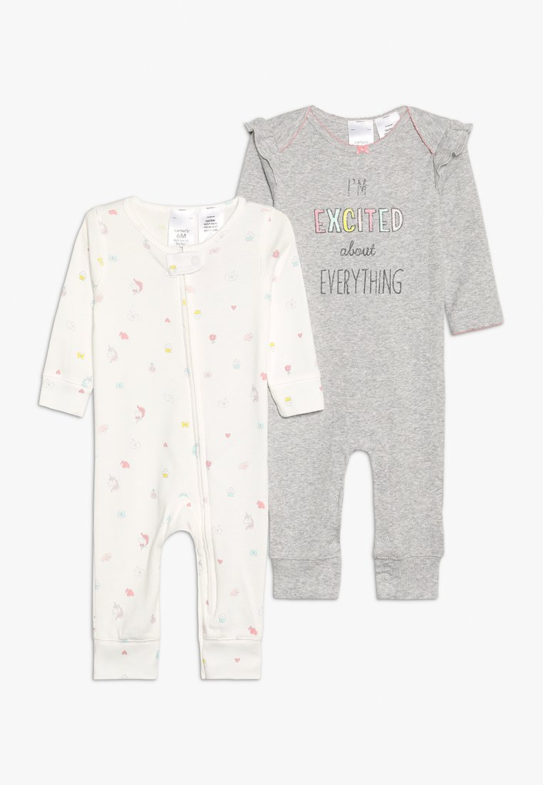 Carter's - CORE COVERALL GIRL EXCITED BABY 2 PACK - Jumpsuit - grey heather