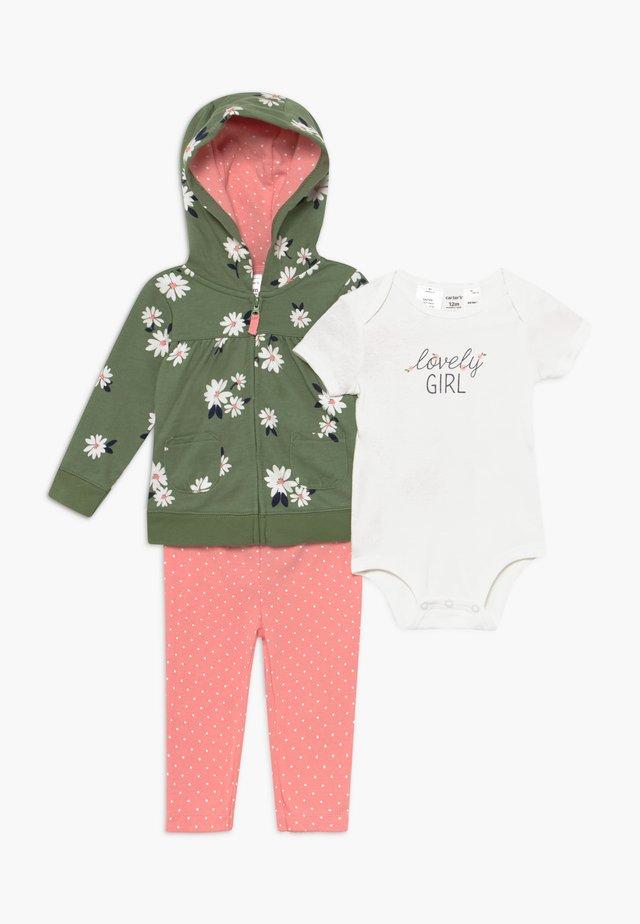 FLORAL SET - Zip-up hoodie - olive