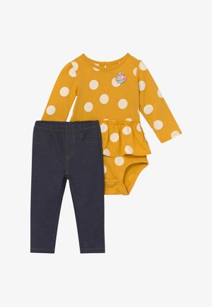 DOTS SET - Legíny - yellow/blue denim