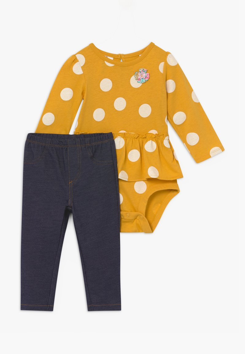 Carter's - DOTS SET - Legíny - yellow/blue denim
