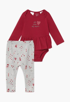 GIRL BABY SET - Leggings - dark red