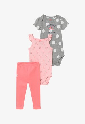 FLAMINGO SET - Legíny - light pink/mottled grey