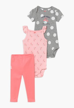 FLAMINGO SET - Leggingsit - light pink/mottled grey