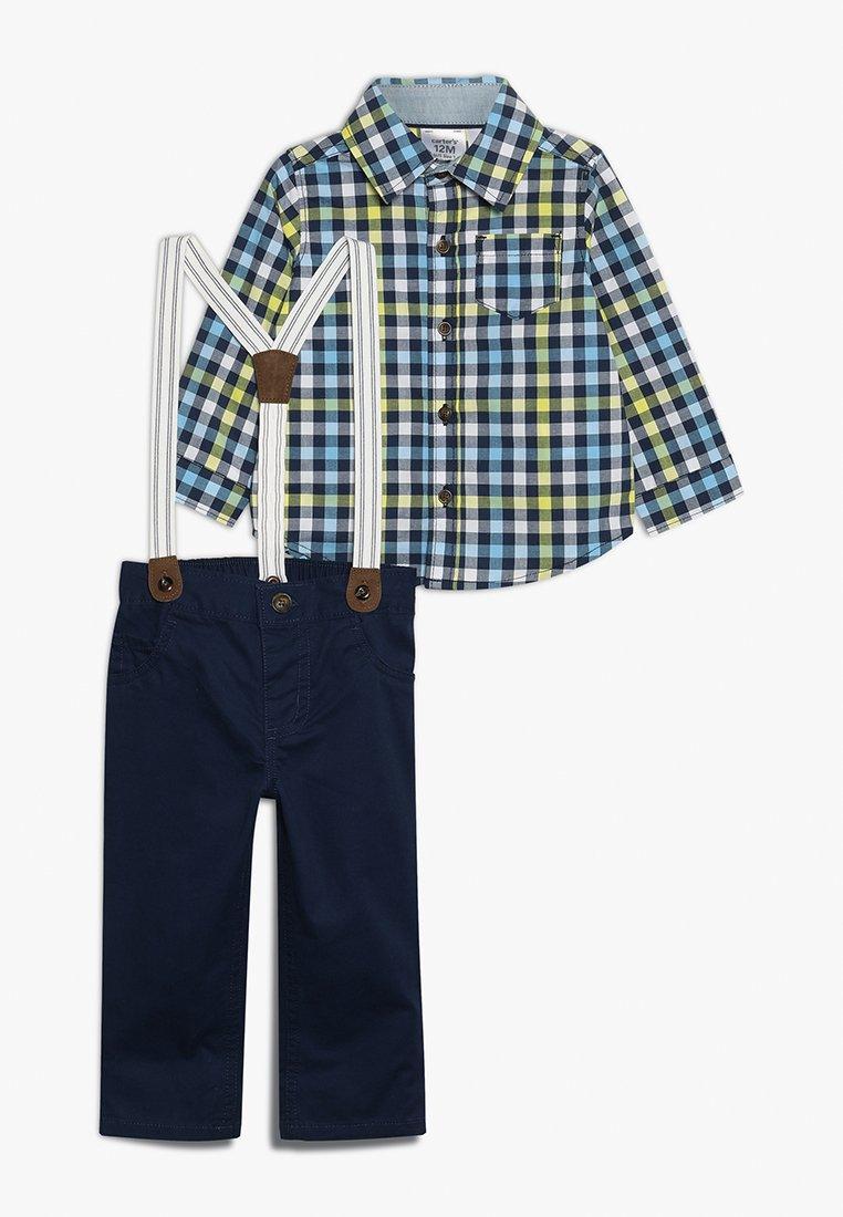 Carter's - BABY PLAID SUSPENDER SET - Pantaloni - dark blue