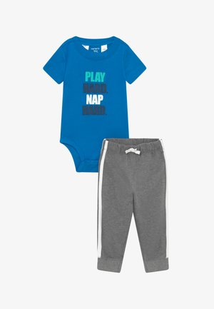 PLAY HARD SET - Trousers - blue/mottled grey