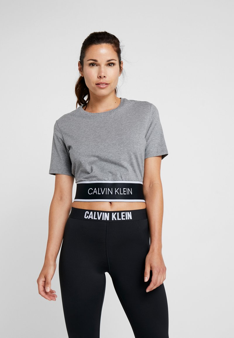 Calvin Klein Performance - CROP TEE - Print T-shirt - grey