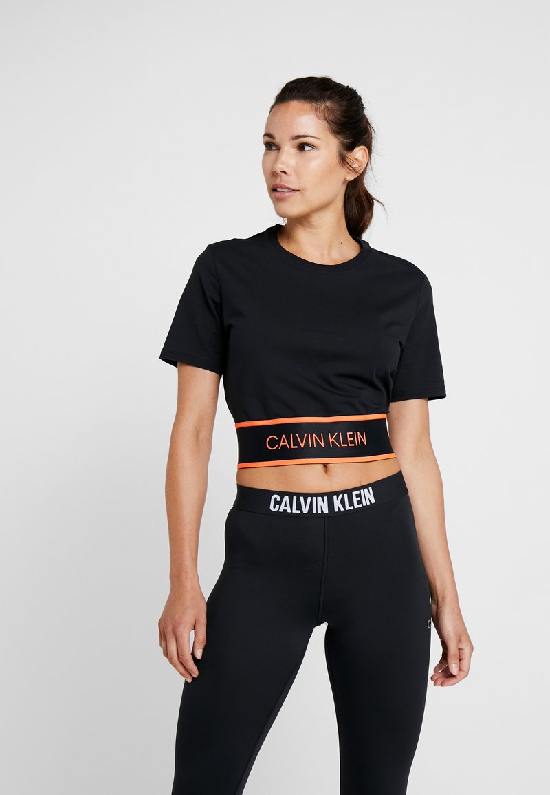 Calvin Klein Performance - CROP TEE - Print T-shirt - black