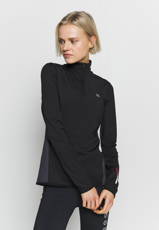 LONG SLEEVE 1/2 ZIP - Sports shirt - black