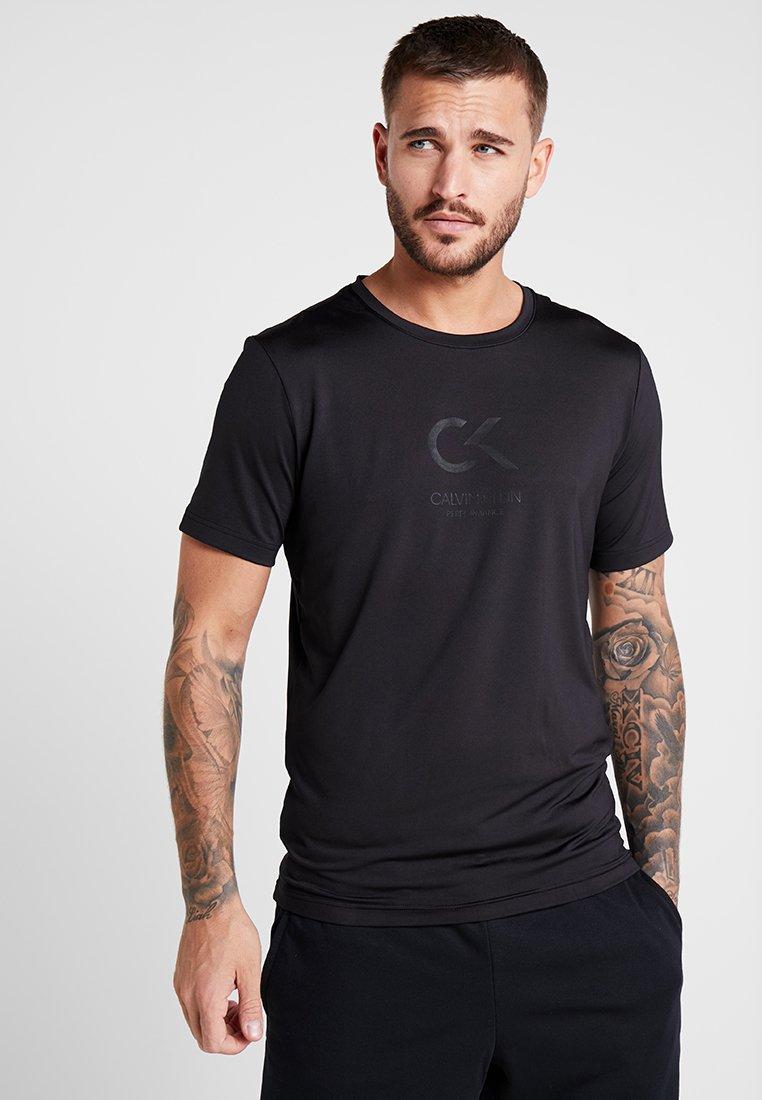 Calvin Klein Performance - SHORT SLEEVE LOGO TEE - Print T-shirt - black/bright white