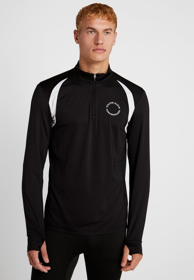 Calvin Klein Performance - 1/2 ZIP LONG SLEEVE TEE - Camiseta de deporte - black