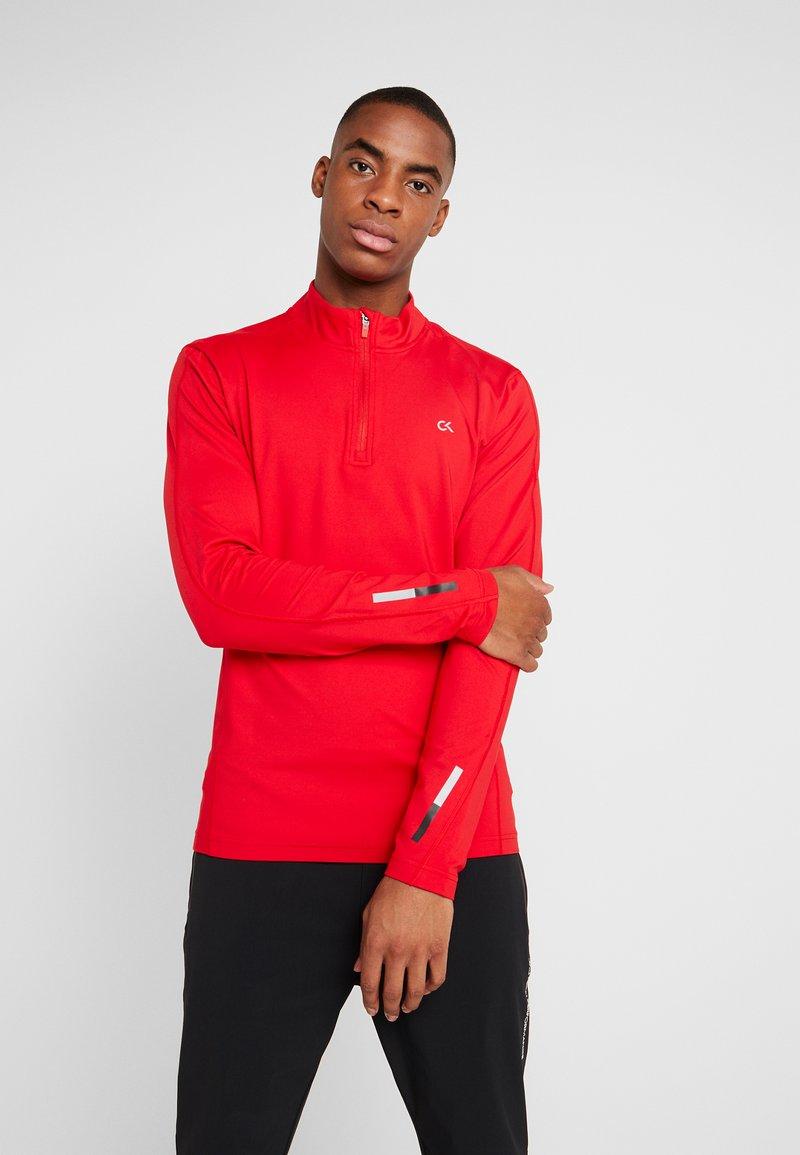 Calvin Klein Performance - ZIP LONG SLEEVE - Long sleeved top - red