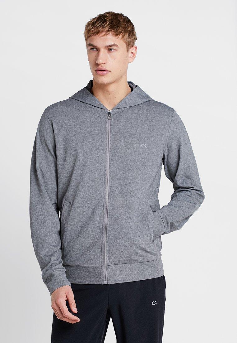 Calvin Klein Performance - HOODY - Zip-up hoodie - medium grey heather/black/lime punch