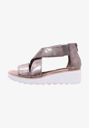 Wedge sandals - zinn-metallic