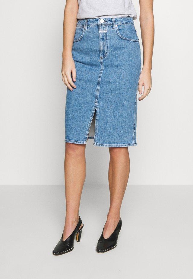 EMMETT - Pencil skirt - mid blue