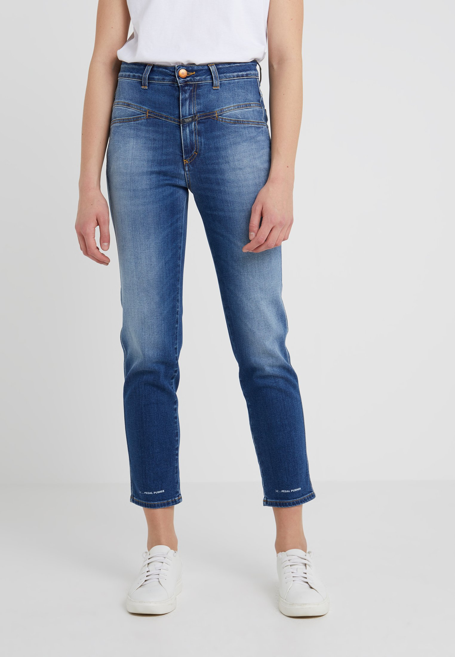 PusherJeans Mid Fuselé Blue Closed Pedal OPmnv0Ny8w