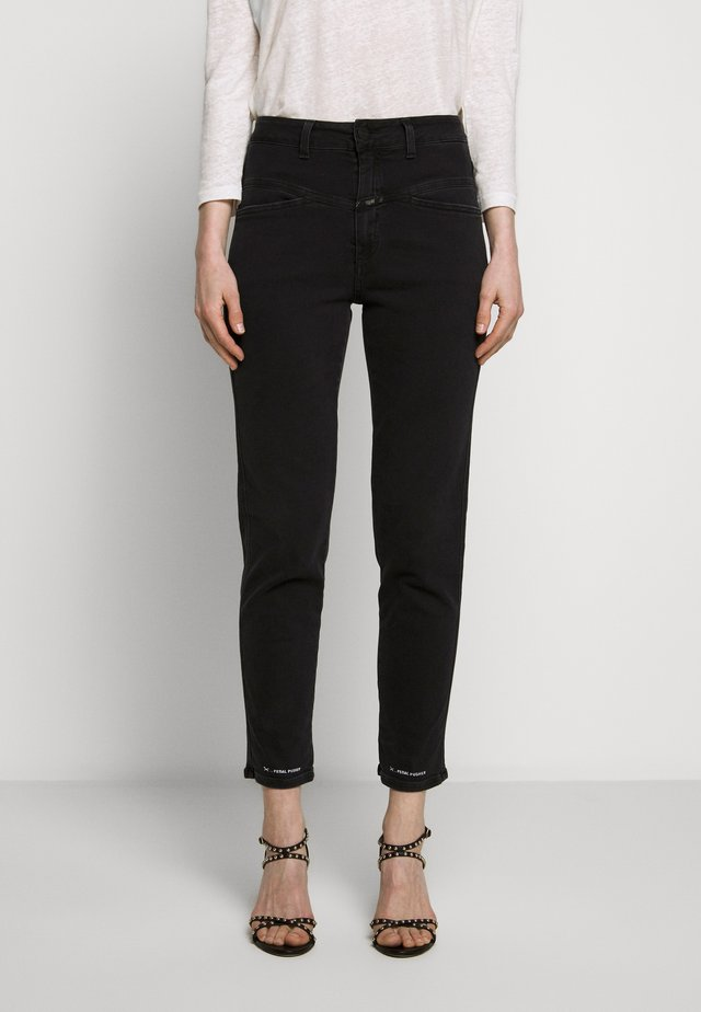 PEDAL PUSHER HIGH WAIST CROPPED LENGTH - Jeans Relaxed Fit - black