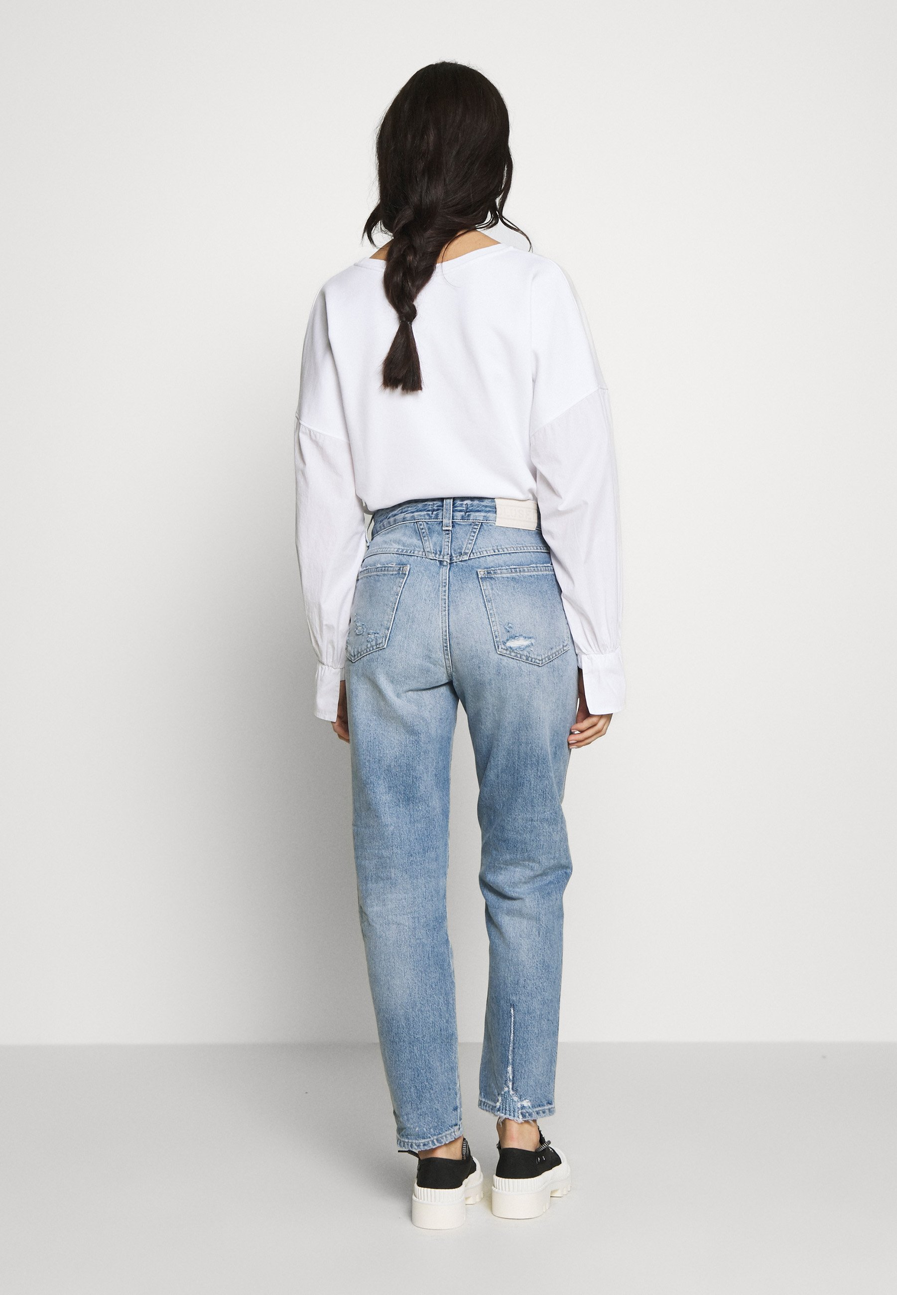 CLOSED PEDAL PUSHER HIGH WAIST CROPPED LENGTH - Jeansy Relaxed Fit - mid blue