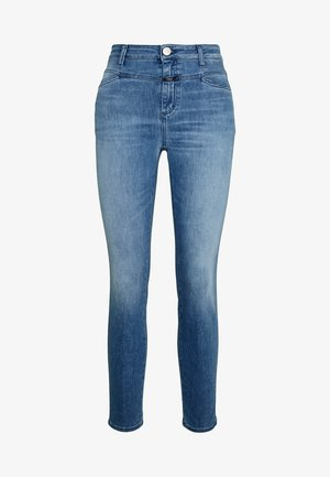 PUSHER HIGH WAIST CROPPED LENGTH - Vaqueros pitillo - mid blue