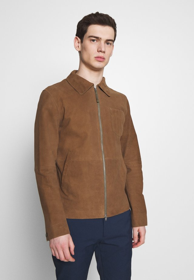 ZIP UP JACKET - Lederjacke - walnut
