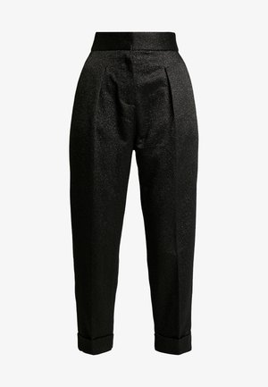 PLEATED TROUSER WITH TURN UP - Spodnie materiałowe - black