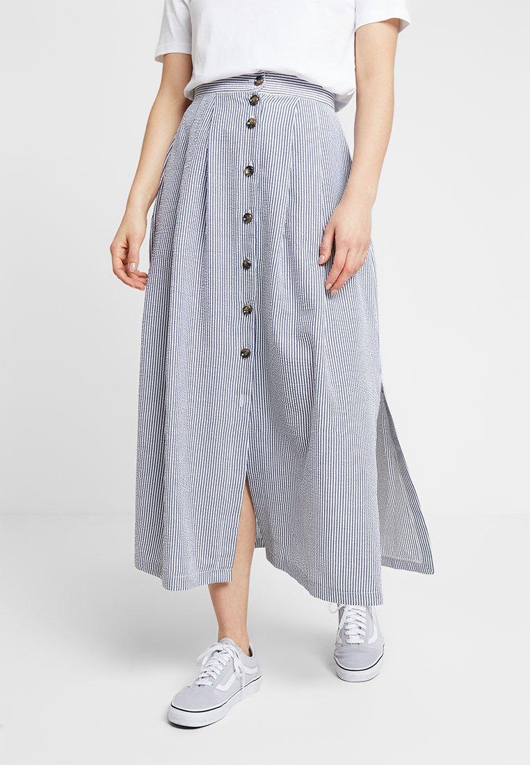 Closet - LONDON BUTTON DETAIL SKIRT - Maxi skirt - blue