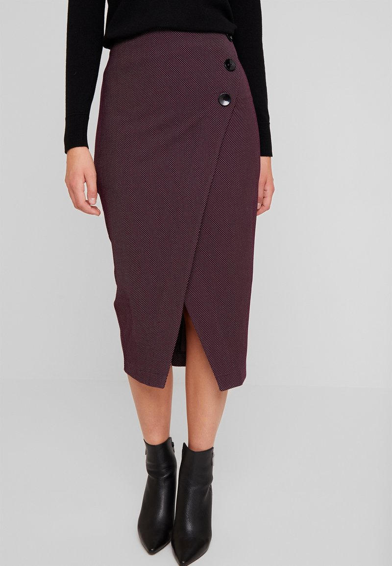 Closet - MIDI PENCIL DRESS - Bleistiftrock - maroon