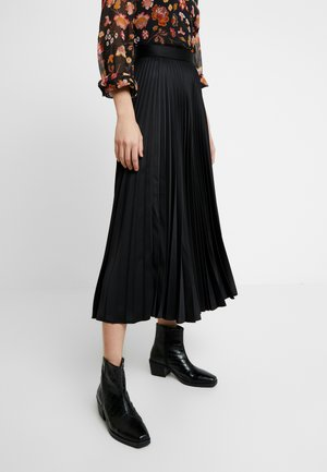 PLEATED MIDI SKIRT - Jupe longue - black