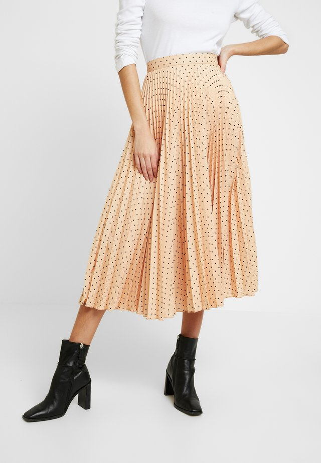 PLEATED MIDI SKIRT - A-line skirt - apricot