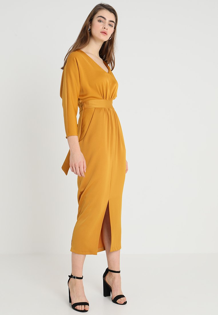 Closet - CLOSET GATHERED WAIST TULIP DRESS - Maxikleid - mustard