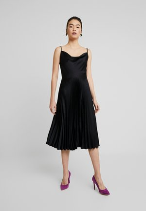 COWL NECK PLEATED DRESS - Vestito elegante - black