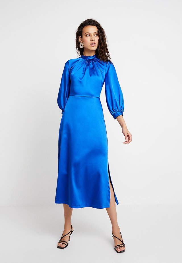 GATHERED NECK A-LINE DRESS - Occasion wear - blue