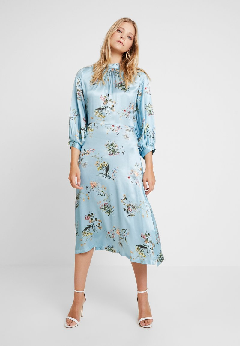 Closet - CLOSET GATHERED NECK A-LINE DRESS - Juhlamekko - blue