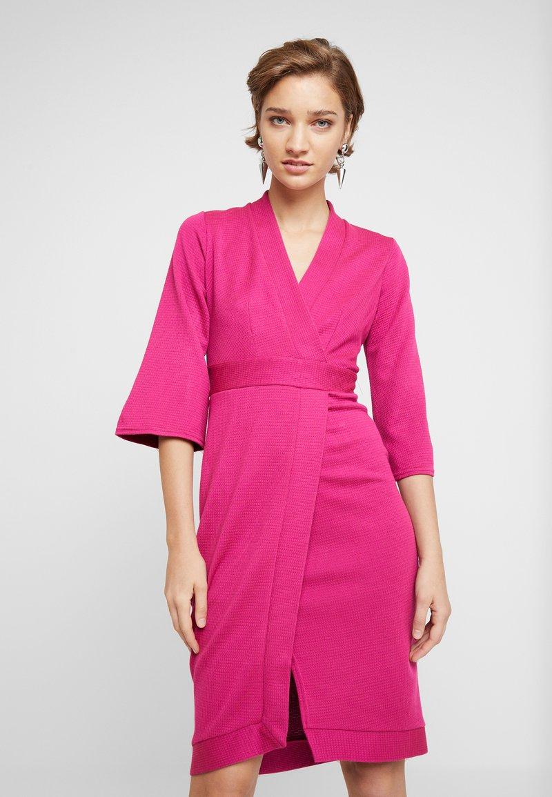 Closet - PANELLED WRAP DRESS - Shift dress - fucshia