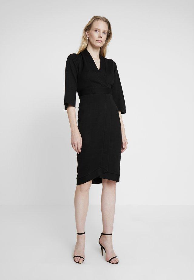 PANELLED WRAP DRESS - Etuikjoler - black
