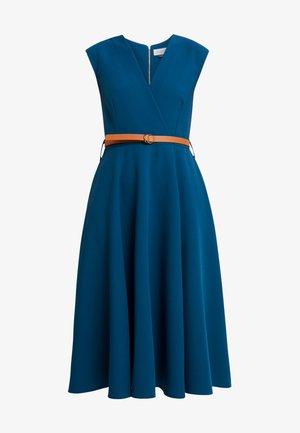 FLARED WRAP DRESS WITH BELT - Vestito lungo - blue