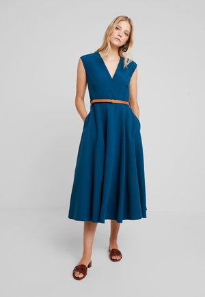 FLARED WRAP DRESS WITH BELT - Vestito lungo - blue