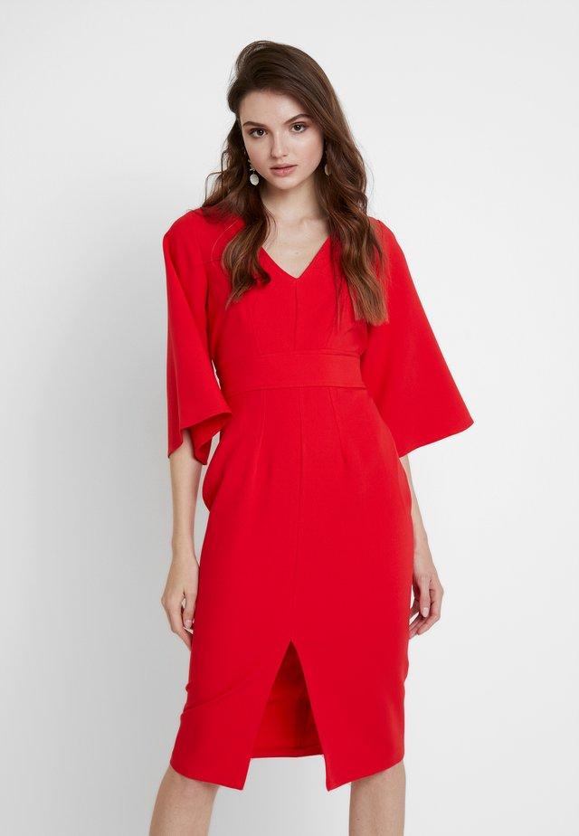 V NECK FLARED SLEEVES PENCIL DRESS - Pouzdrové šaty - fiesta