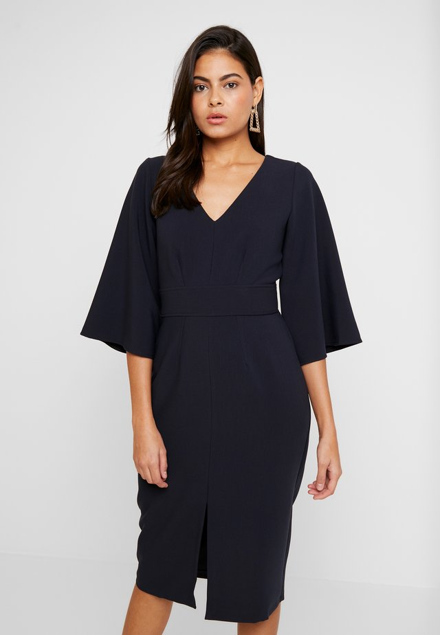 V NECK FLARED SLEEVES PENCIL DRESS - Shift dress - navy