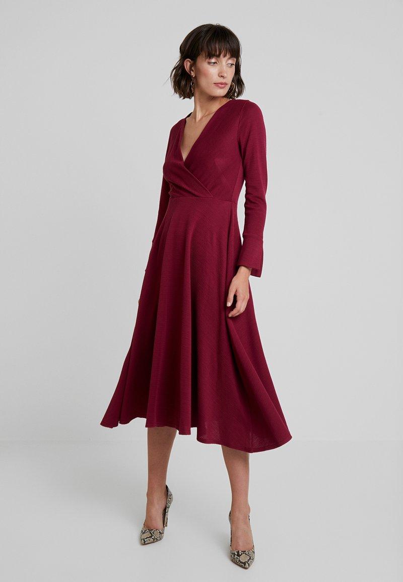 Closet - LONG SLEEVE WRAP DRESS - Day dress - dark pink