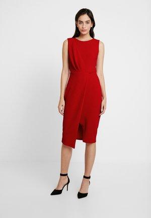 SLEEVELESS WRAP PENCIL DRESS - Pouzdrové šaty - red