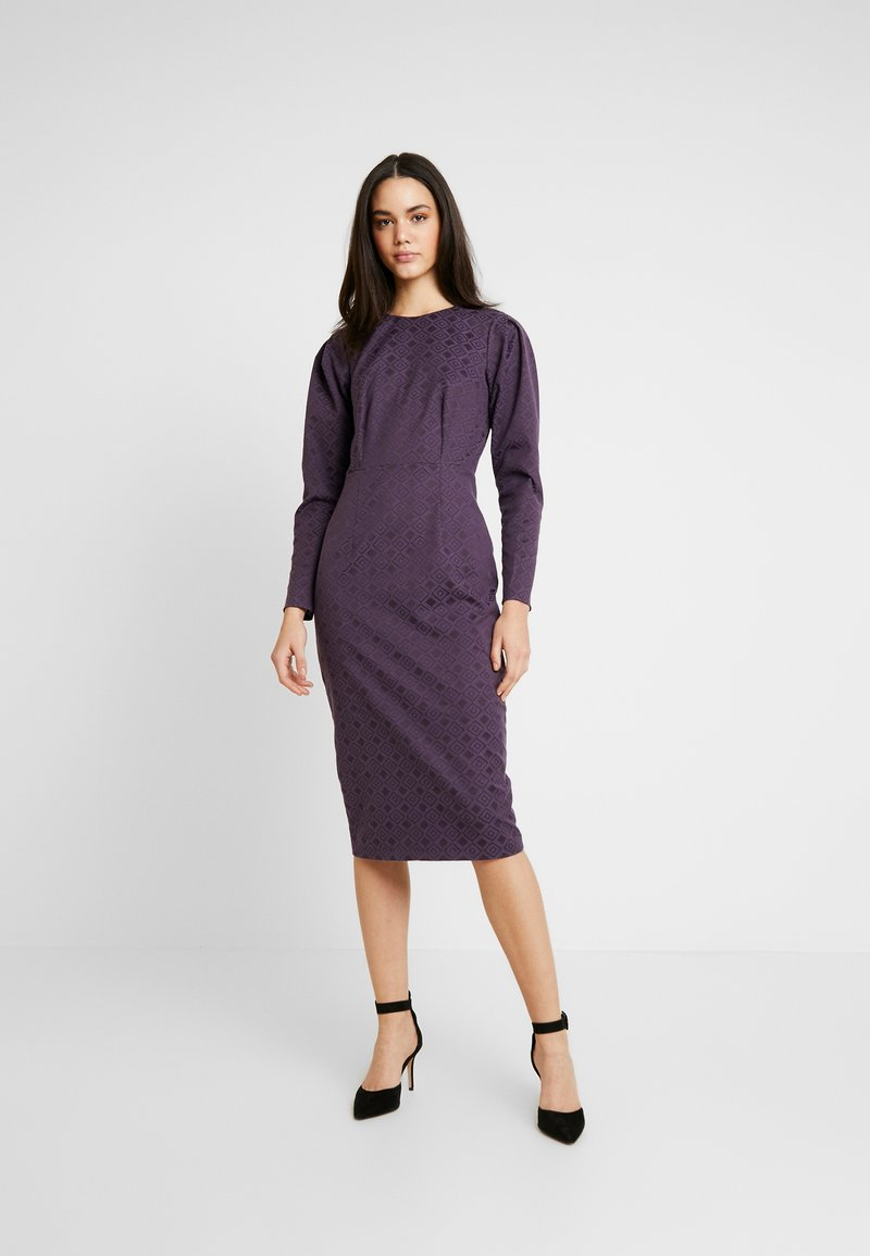 Closet - PUFF SLEEVE PENCIL DRESS - Pouzdrové šaty - purple