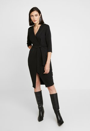 SLEEVE WRAP PENCIL DRESS - Vestito elegante - black
