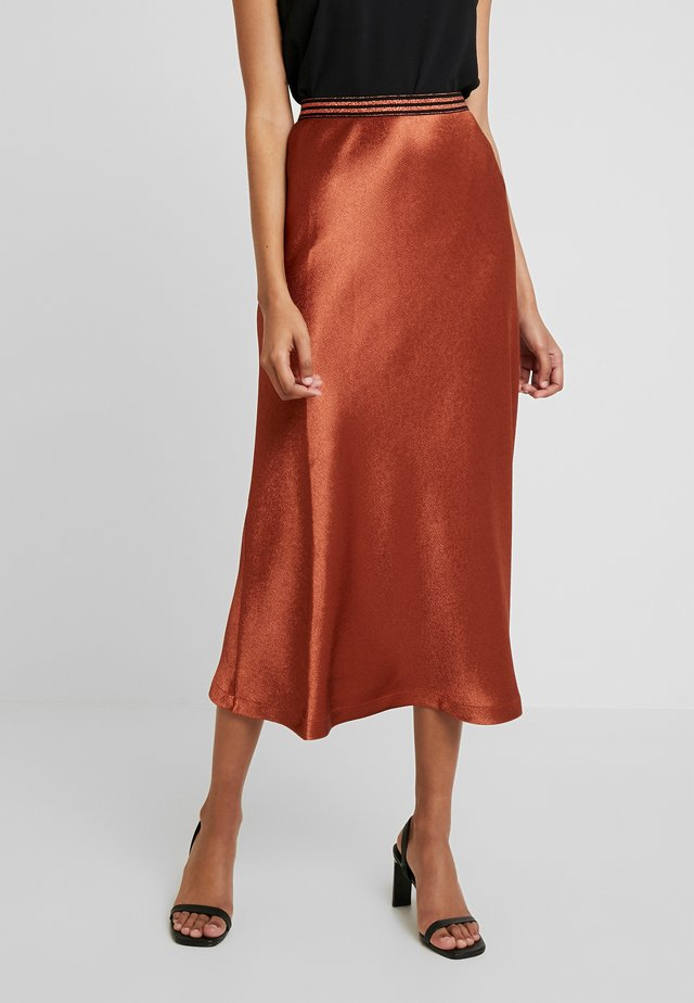MIDI SKIRT - A-linjekjol - light brown