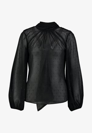GATHER NECK BLOUSE WITH TIE - Blouse - black