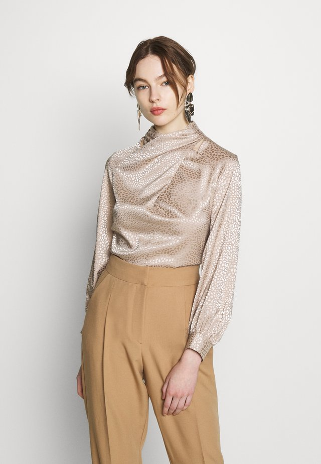 TWIST NECK BLOUSE - Blus - beige