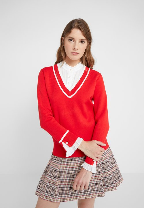 Claudie Pierlot MAKY - Sweter - rouge Odzież Damska IRIA-WC5 70% ZNIŻKI